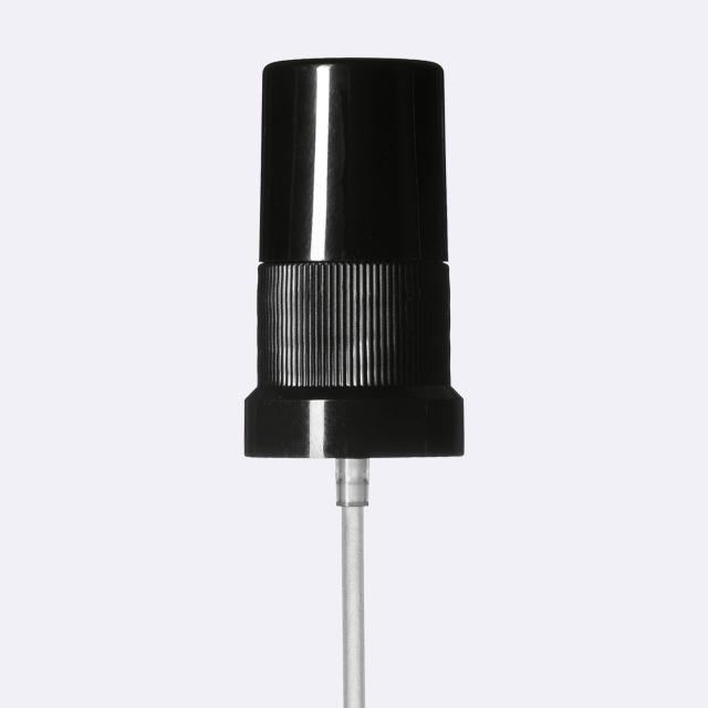 Mist sprayer Sinfonia DIN18, PP, black, ribbed, dose 0.10 ml, with black overcap (for Orion 5-100 ml)