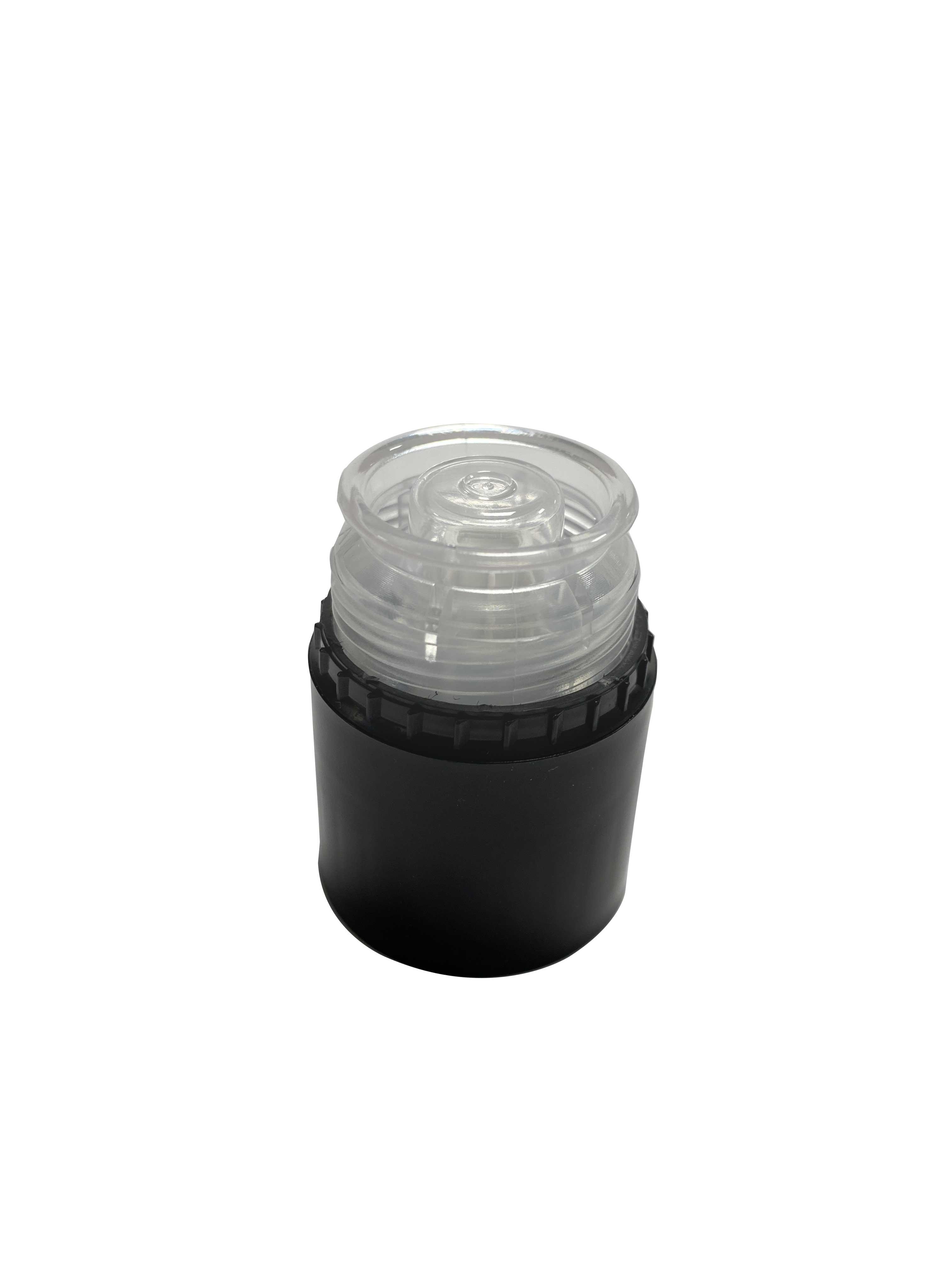 Pourer cap CPR height 47, tamper-evident, PP/PP, black with natural pourer (for spirits)