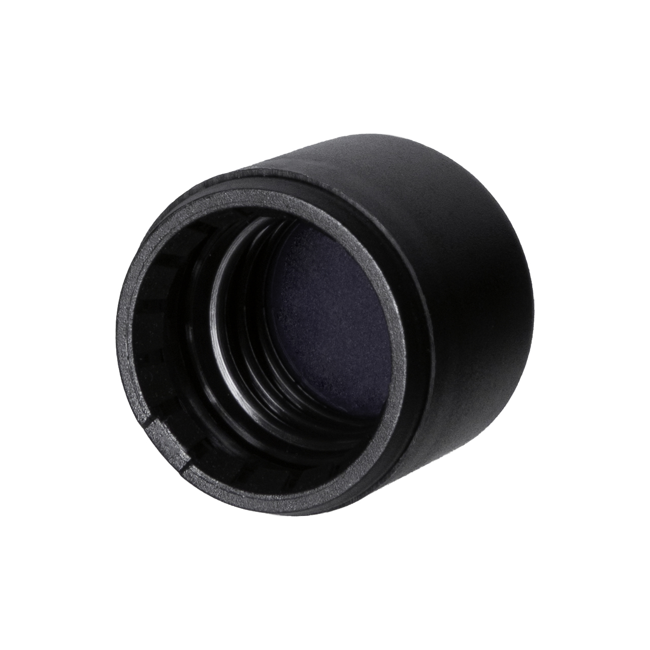 Tamper-evident closure DIN18, series IIID, PP, black matt with violet Phan inlay (for Orion 5-100 ml)