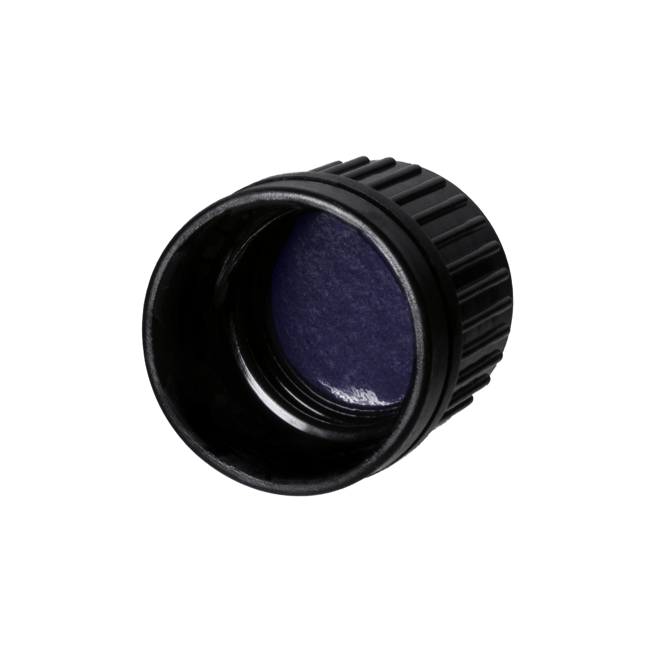 Screw cap series II, DIN18, tamper-evident, PP, black, ribbed with violet Phan inlay (for Orion 5-100 ml)