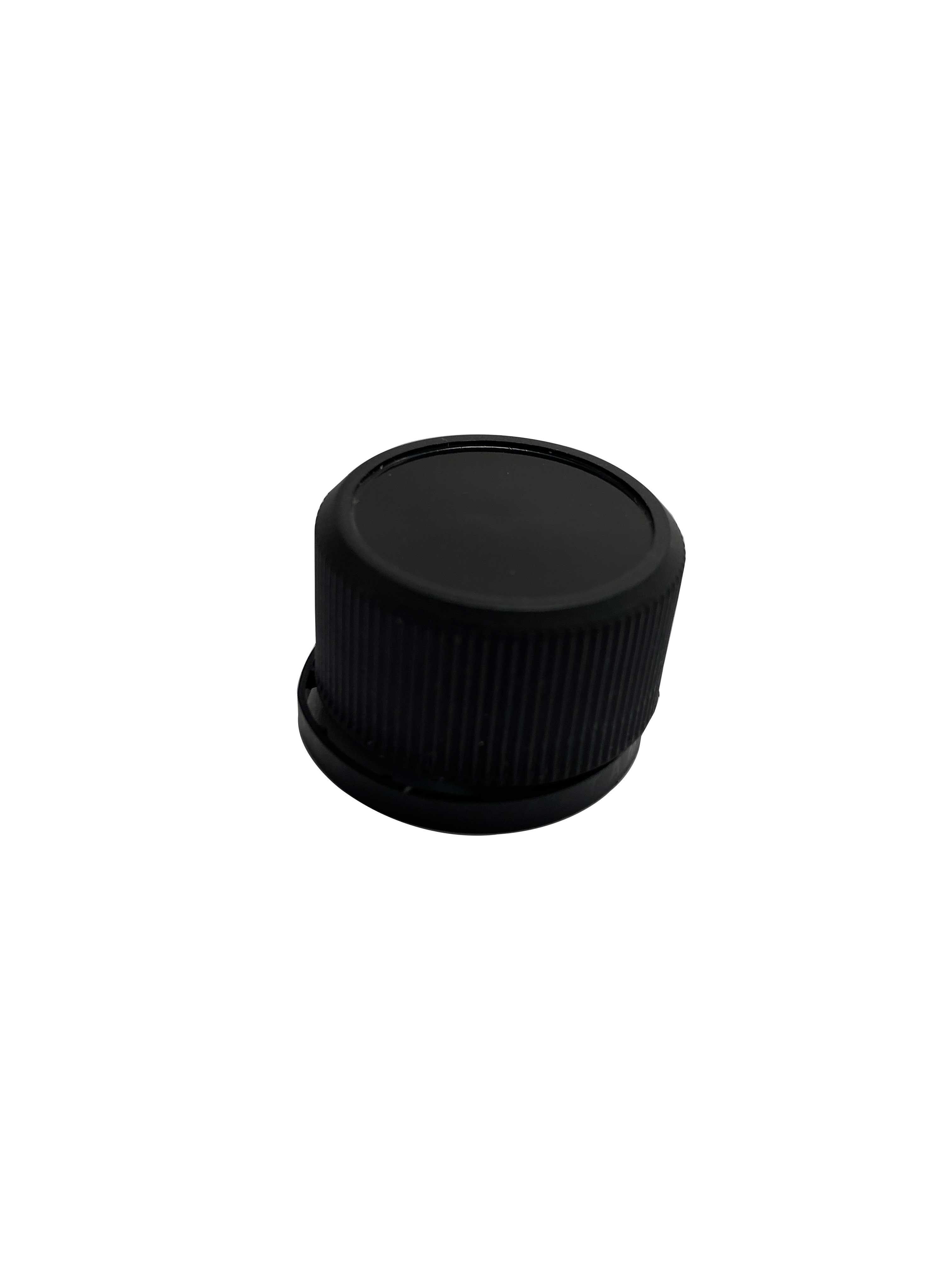 Tamper-evident CPR closure 29.4 mm, PP/PP, black with natural pourer (for oils)