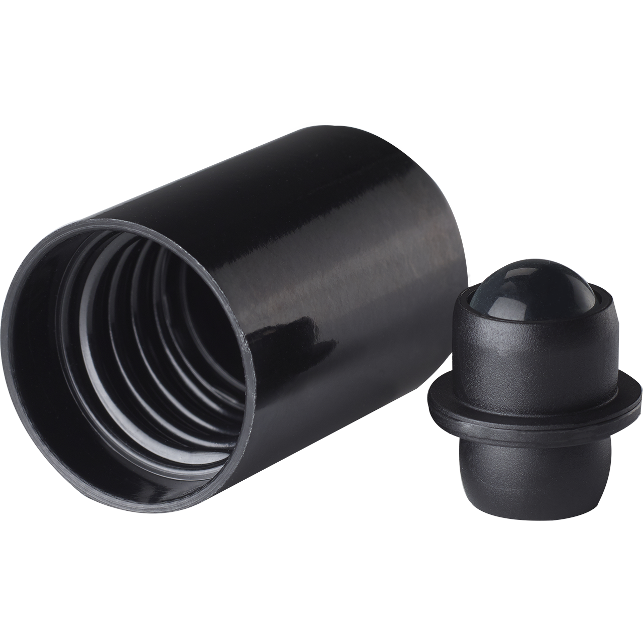 Roll-on closure DIN18, Urea, black fitment with polished glass ball, black cap