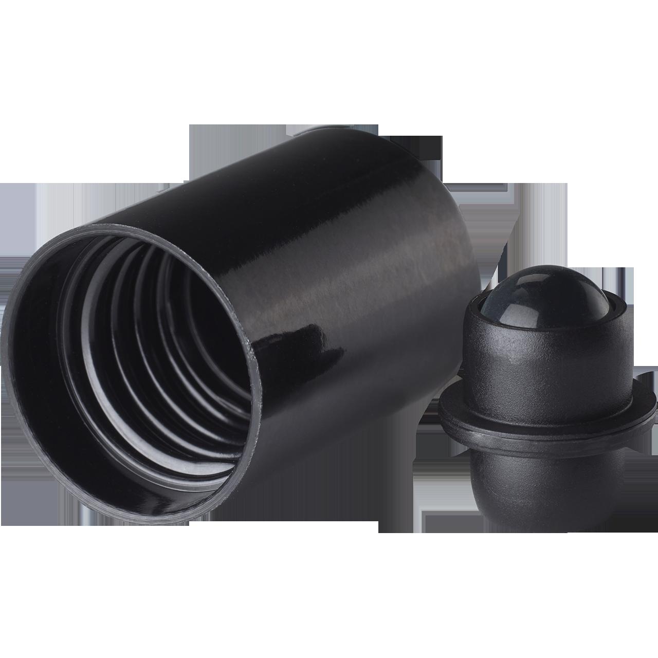 Roll-on, glass ball für Tropfenflaschen Orion 5 up tp 100 ml, 168/GL18, Schwarz/black fitment