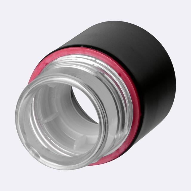Tamper-evident CPR closure 29.4 mm, Aluminum/PP, black with natural pourer