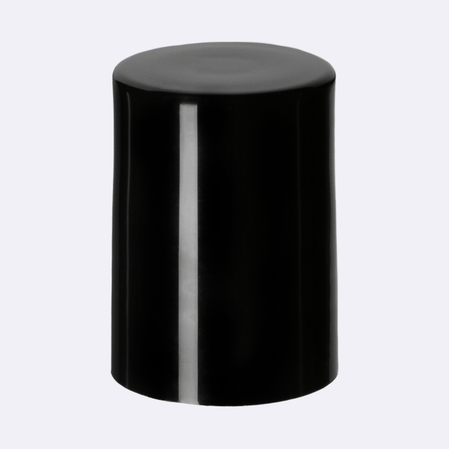 Roll-on closure DIN18, Urea, black fitment with stainless steel ball, black cap