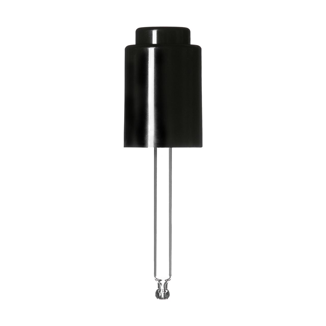 Push-button pipette 18/415, PP, black smooth, black button 0.4 ml, ball tip, straight (for Virgo 30 ml)
