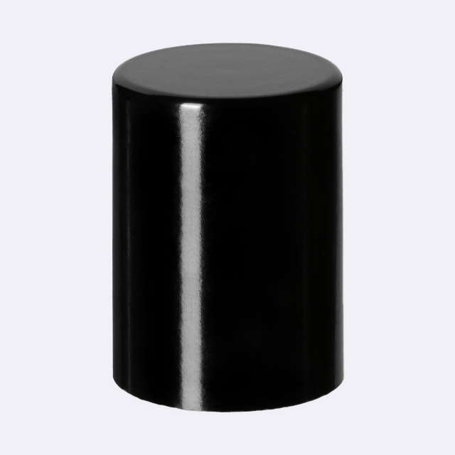 Roll-on cap DIN18, PP, black, natural fitment with white matt plastic ball, black cap (for Orion 5-100 ml)