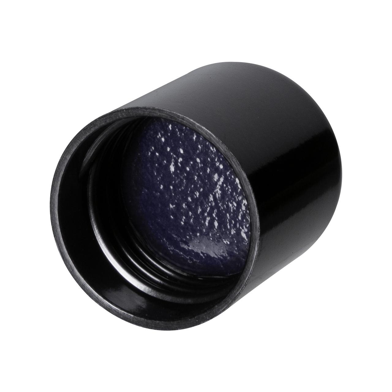 Kappe mit Violettem Inlay für Tropfenflaschen Orion 200 ml, 24/410, Schwarz