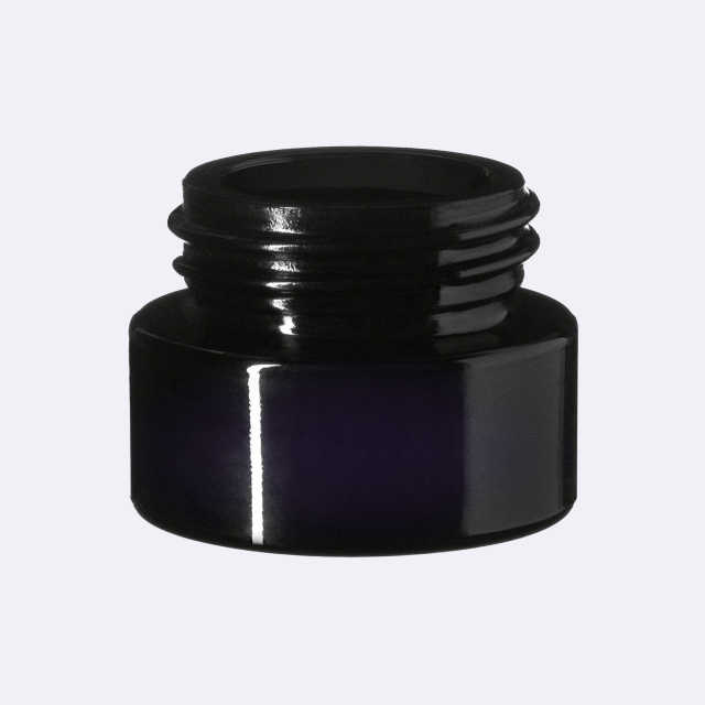 Child-resistant tamper-evident closure Modern 31 mm, PP, black, smooth with violet Phan inlay