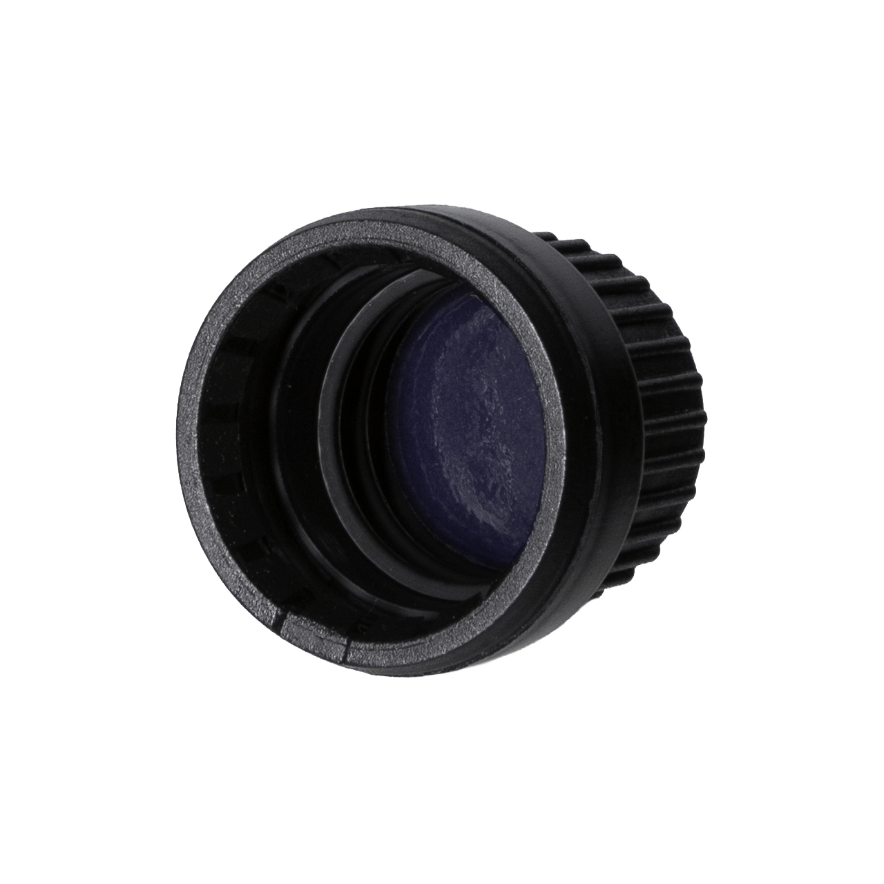 Tamper-evident closure DIN18, series III, PP, black matt, ribbed with violet Phan inlay (for Orion 5-100 ml)
