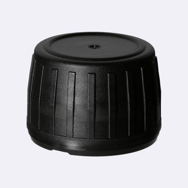 Screw cap series III, PP28, tamper-evident, PP, black, ribbed with violet Phan inlay (for Aquarius & Aguila)