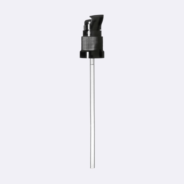 Lotion pump Metropolitan DIN18, PP, black, ribbed, dose 0.10 ml, with security clip (for Orion 5-100 ml)
