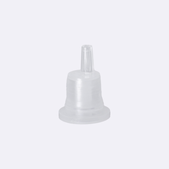 Dropper cap series III, DIN18, tamper-evident, PP, black, ribbed with natural vertical dropper PELD 0.7 mm, type S-I