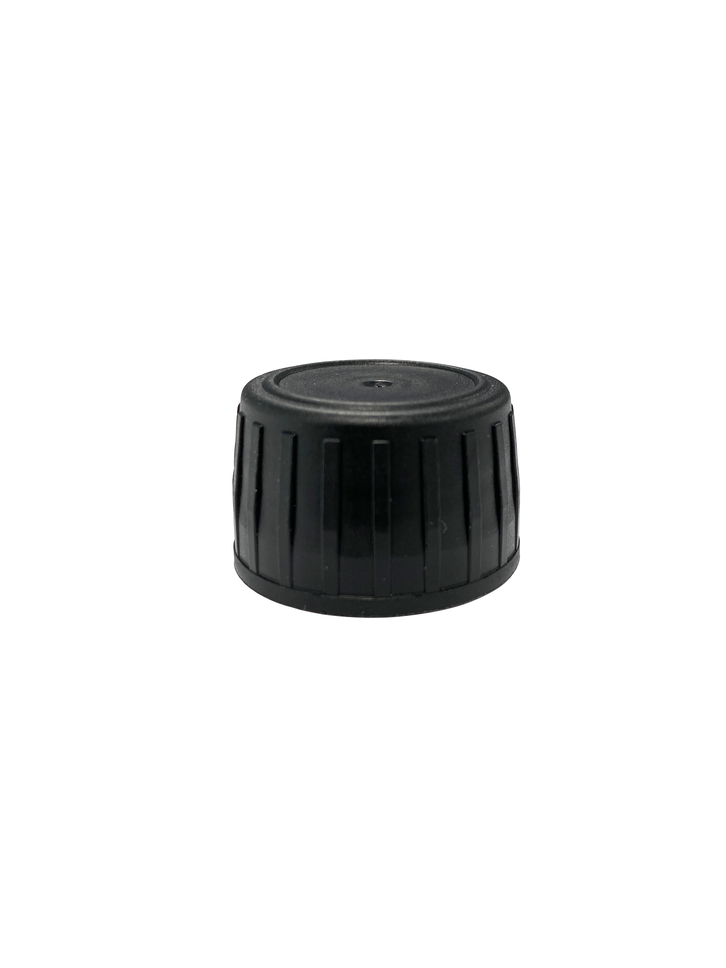Tamper-evident closure 28ROPP, series III, PP, black, ribbed with natural pourer (for Aquarius 100 ml – 500 ml)