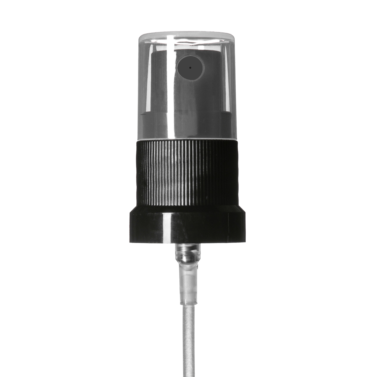 Mist sprayer Classic stepped, DIN18, PP, black, ribbed, dose 0.14 ml, with transparent overcap (for Orion 100 ml)