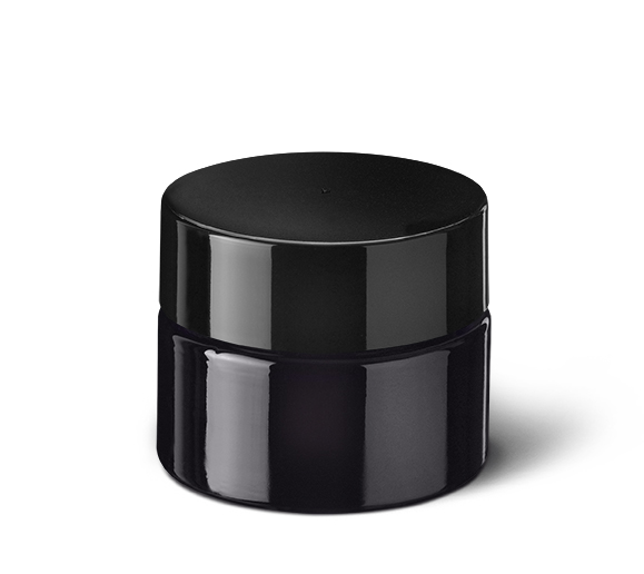 Child-resistant tamper-evident closure Modern 55 mm, PP, black, smooth with violet Phan inlay