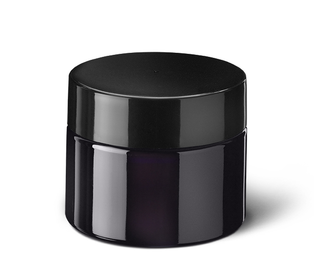 Child-resistant tamper-evident closure Modern 67 mm, PP, black, smooth with violet Phan inlay