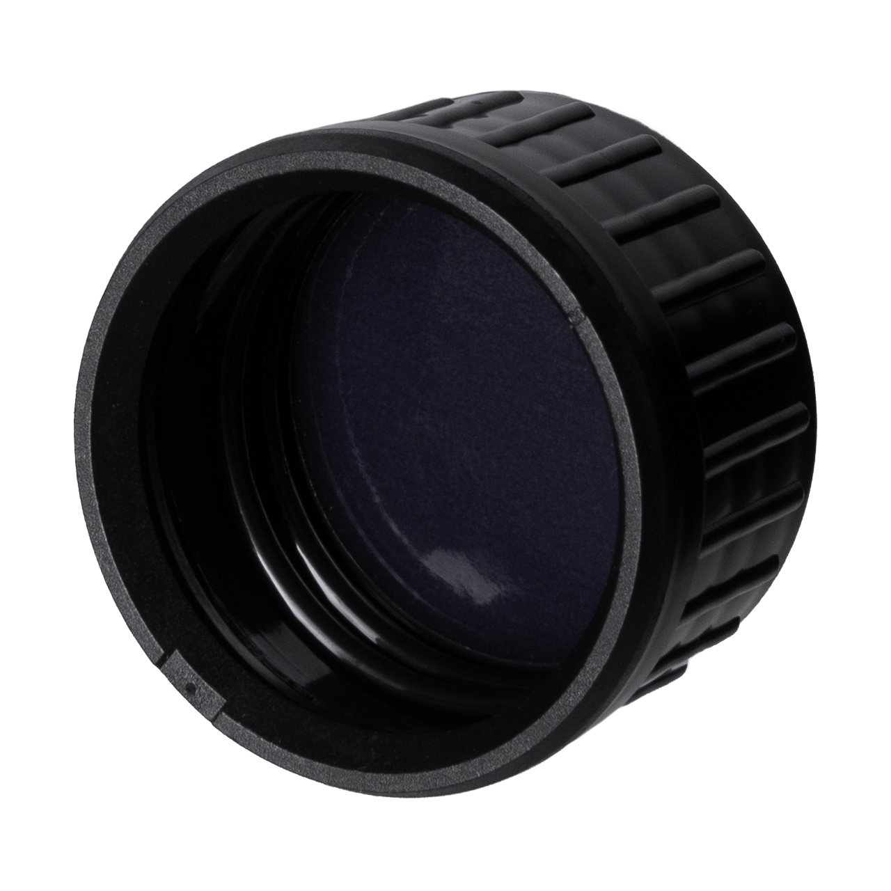 Tamper-evident closure 31.5 STD, series III, PP, black, ribbed with violet Phan inlay (for Castor 100-1000 ml & Pollux 500 ml)