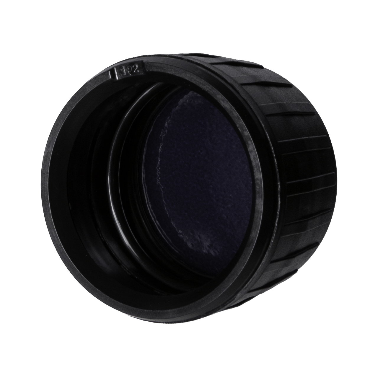 Tamper-evident closure 28ROPP, series III, PP, black, ribbed with violet Phan inlay (for Aquarius & Aguila)