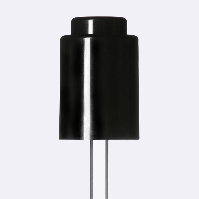 Push-button pipette 18/415, PP, black smooth, black button 0.4 ml, ball tip, straight (for Virgo 15 ml)