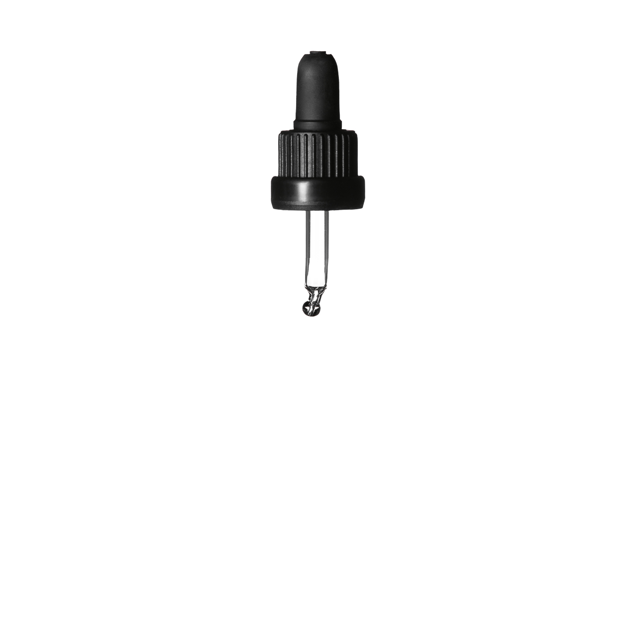 Tamper-evident pipette series III, DIN18, PP, black matt, ribbed, black bulb TPE 0.7 ml, ball tip, bent (for Orion 5 ml)