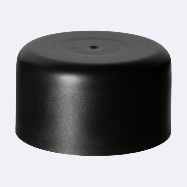Pourer cap DIN18, PP, black matt with natural pourer PELD (aligned with Orion 100 ml)