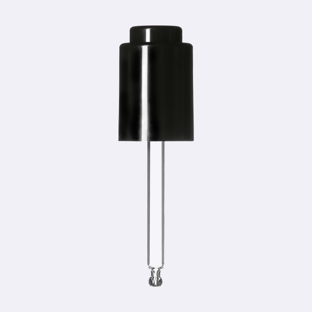 Push-button pipette 18/415, PP/ABS, black glossy finish, black button bulb Nitrile 0.4 ml, ball tip, straight (for Virgo 30 ml)