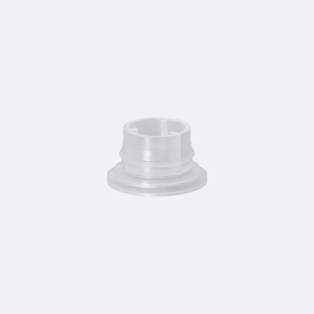 Tamper-evident closure DIN18, series II, PP, black, ribbed with natural pourer