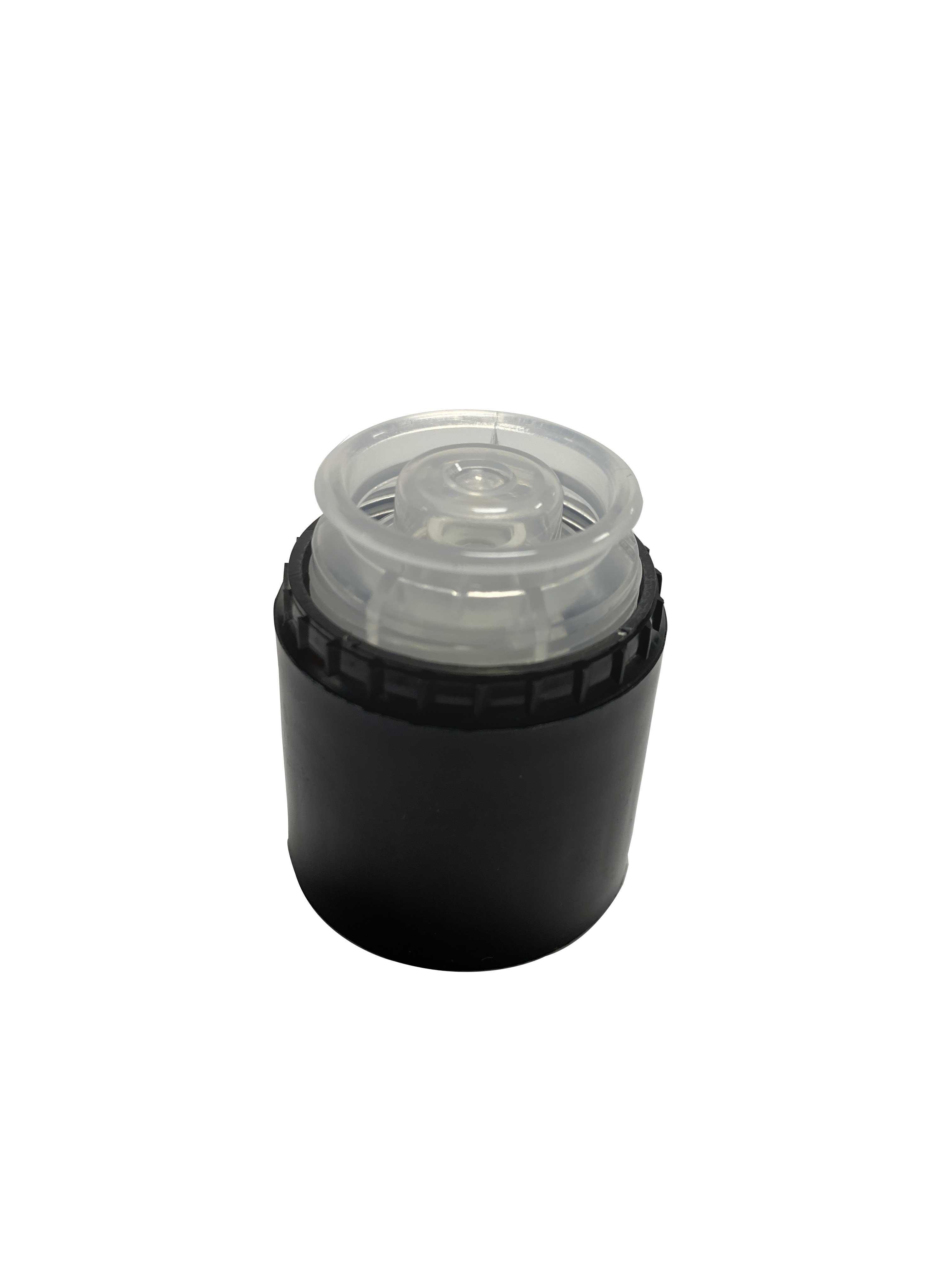 Pourer cap CPR height 47, tamper-evident, PP/PE, black with natural pourer (for oils)