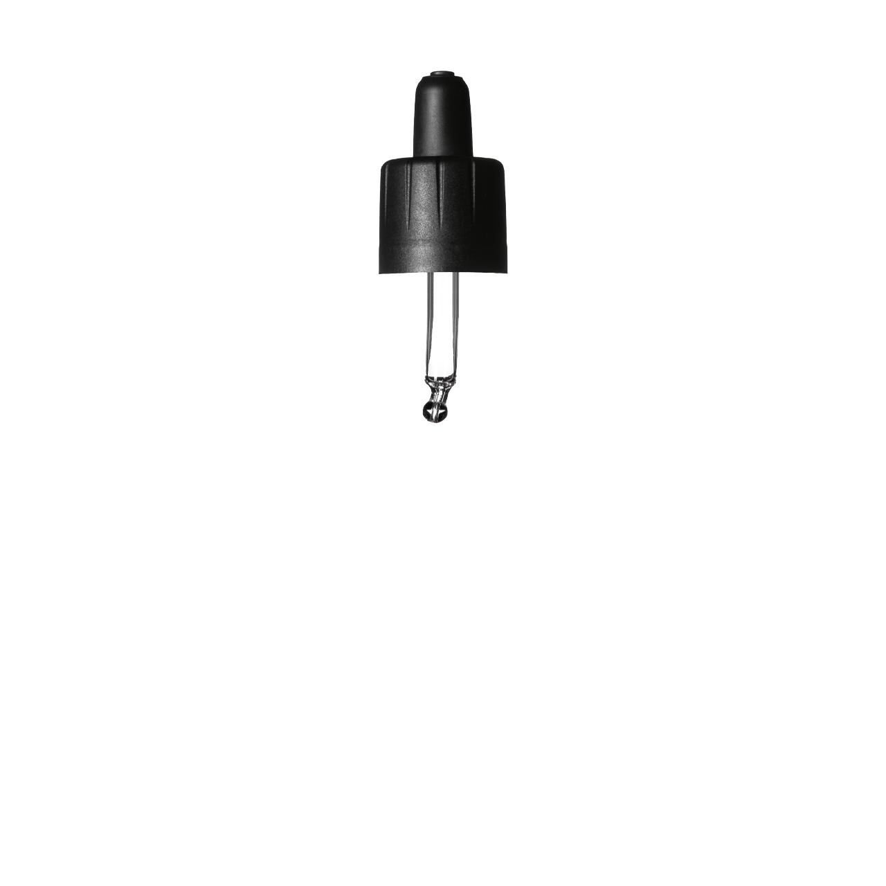 Kindersicherung Pipettenkappen-Serie II mit Birne: TPE, tip: gebogene Kugel, Dosis: 0.7 für Tropfenflaschen Orion 5 ml, 168/GL18, Schwarz