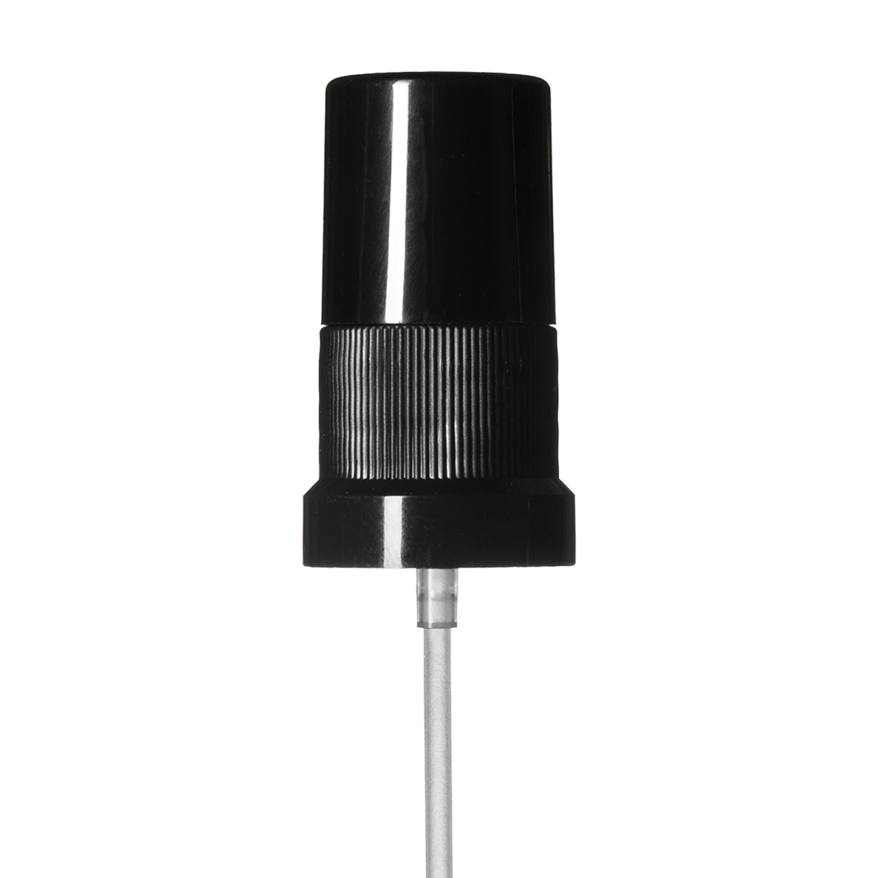 Mist sprayer Sinfonia DIN18, PP, black, ribbed, dose 0.10 ml, with black overcap (for Orion 5-100 ml)