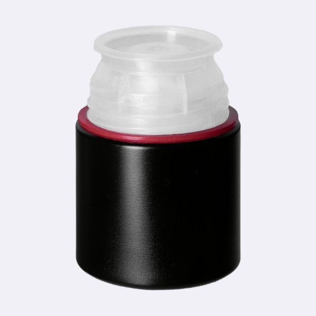 Pourer cap CPR height 47, tamper-evident, Aluminum/PC, black with natural pourer (non-refillable)